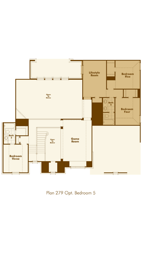 Highland Homes Plan 279 Floorplan optional bedrooms in Hollyhock