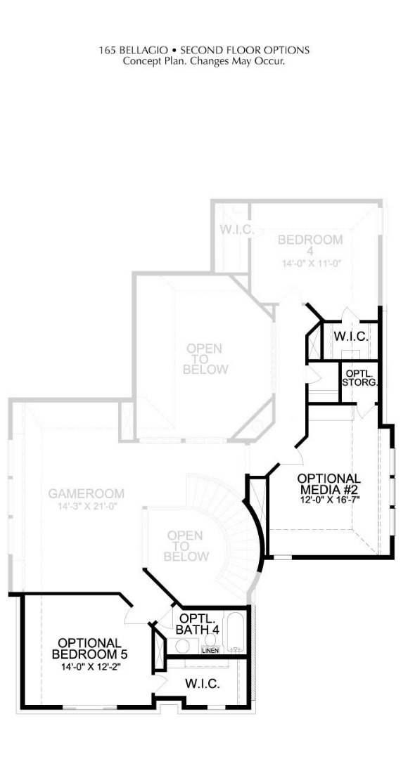 Landon Homes Plan 165 Second Floor Optional Media and Bedroom in Hollyhock