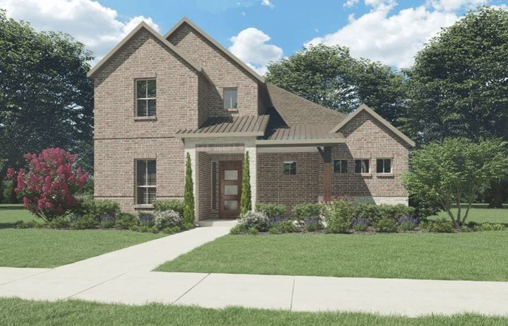 Trophy Signature Homes Plan Greenbrier Elevation B with Stone in Hollyhock