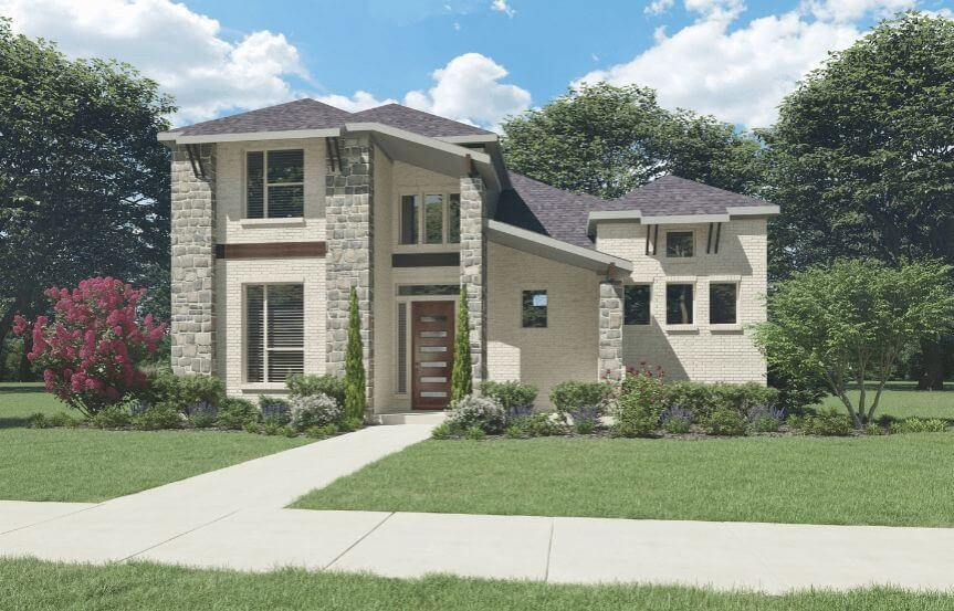 Trophy Signature Homes Plan Greenbrier Elevation C with Stone in Hollyhock