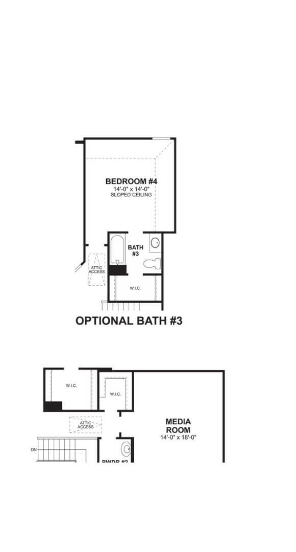 M/I Homes Plan Dickinson Optional Bath and Media in Hollyhock