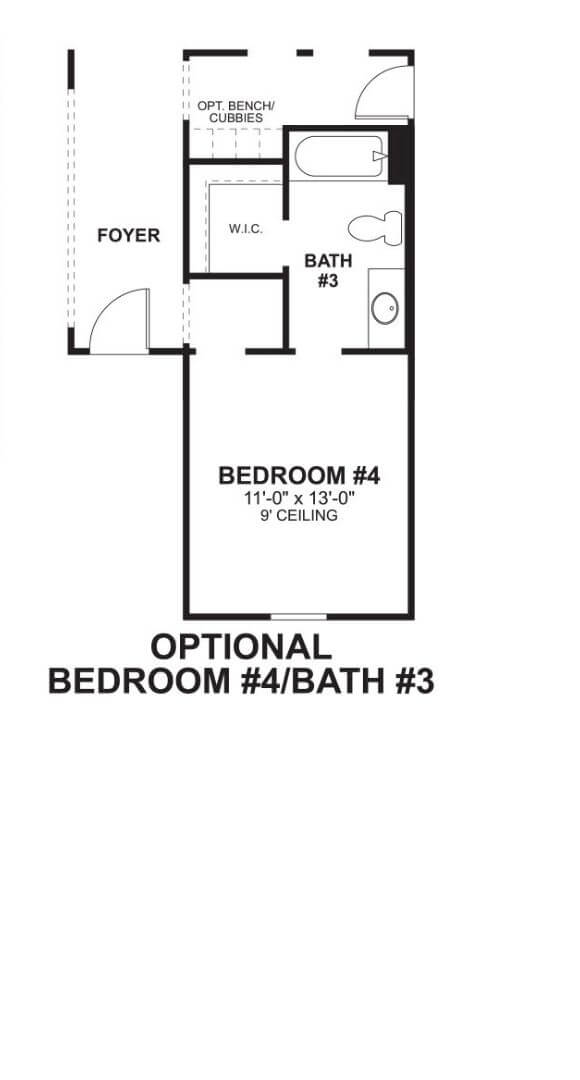 M/I Homes Plan Medina Optional Bed and Bath in Hollyhock