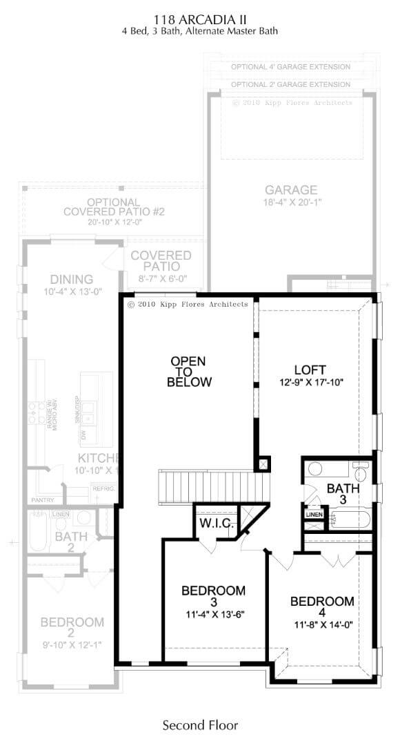 Landon Homes Plan 118 Arcadia II Second Floor in Hollyhock