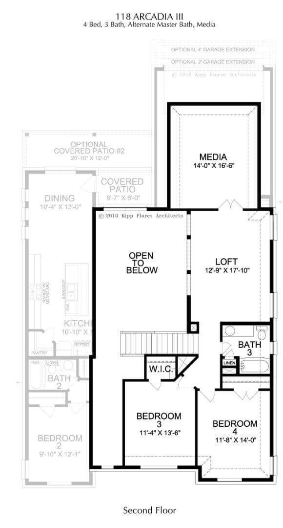 Landon Homes Plan 118 Arcadia III Second Floor in Hollyhock