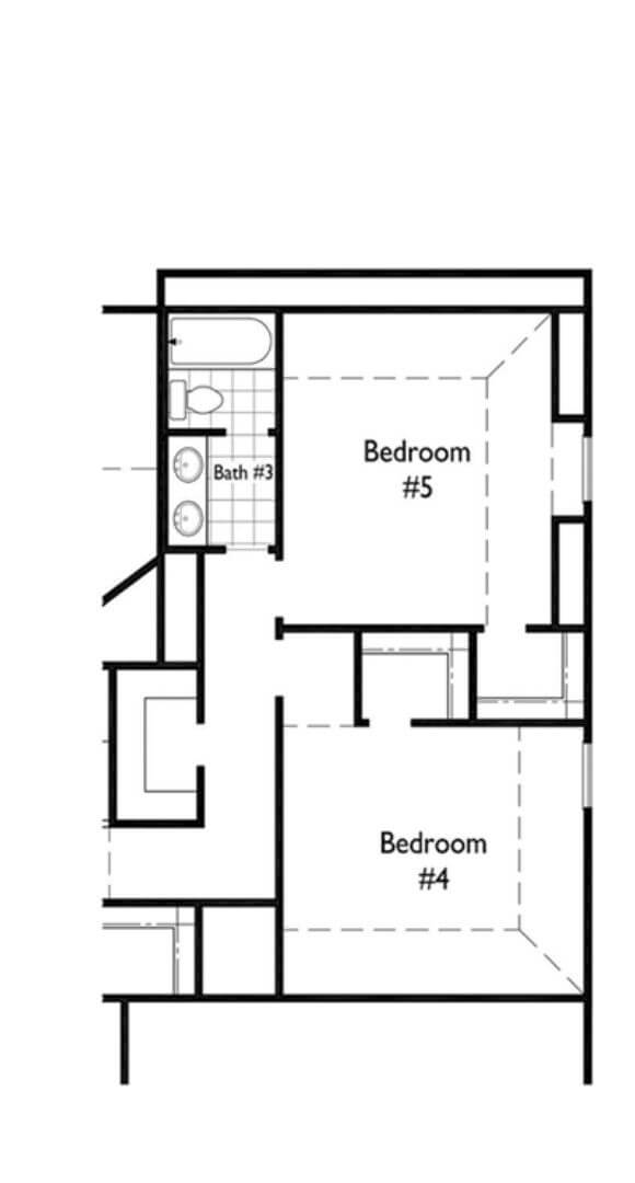 Highland Homes Plan 208 Bedroom 4 and 5 in Hollyhock