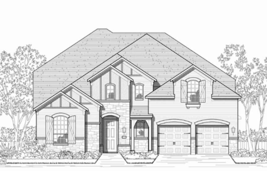 Highland Homes Plan 247 Elevation A in Hollyhock