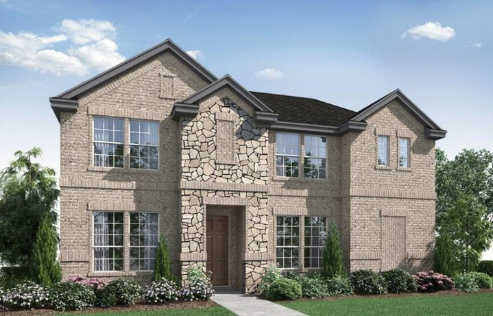 Landon Homes Plan 122 Montage Elevation E with Stone in Hollyhock