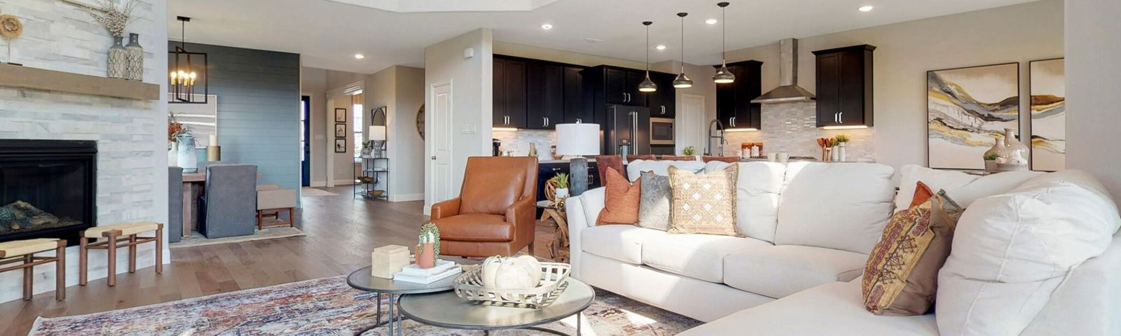 M/I Homes model family room at Hollyhock in Frisco, TX
